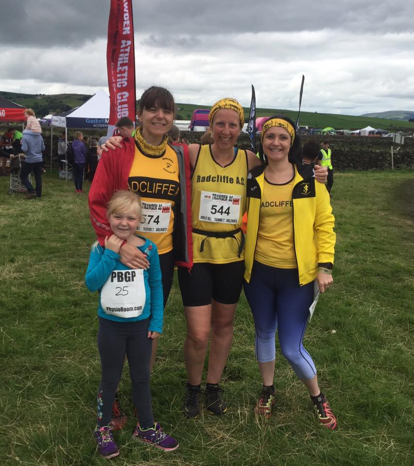 Sinead from Radcliffe AC with daughter Ruby, Lisa and Caroline at the Boulsworth Fell Race.