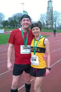 New PB for Fiona from Radcliffe running club running with Peter at Stanley Park.