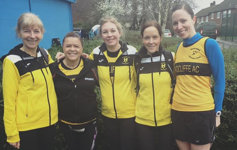 Radcliffe AC girls getting personal bests at Trafford 10k run