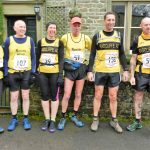 Runners from Radcliffe running club posing after 4.5 mile Pendle Fell Race
