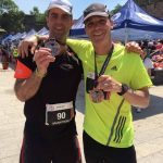 Lee with another runner at the Great Wall Marathon.