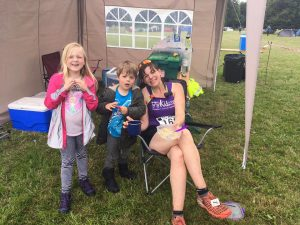 Sinead refuelling at 30 mile with the help of her family.
