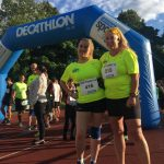 New members Christine Berry and Jenny Entwistle enjoying the Decathlon fun run.