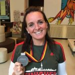 Sarah shows off her Berlin Marathon medal.