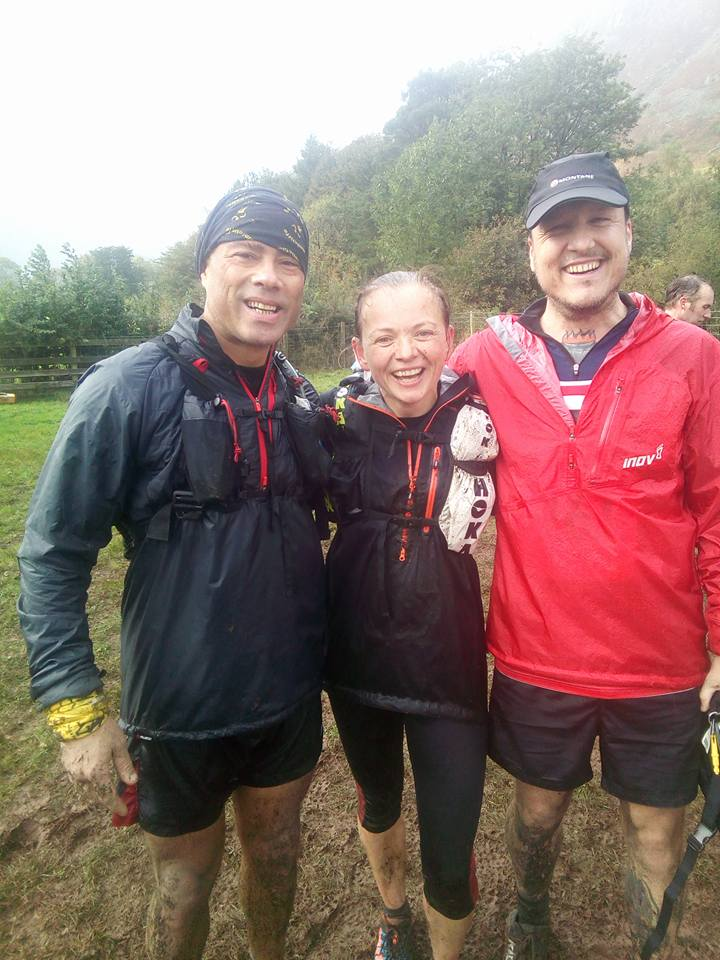 Fiona, Mauro and friend Stuart all smiles at the end of a tough Langdale Horshoe.