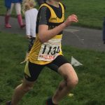 Harry Andrew striding out at the cross country, coming 53rd out of 94 runners in the under 11 boys.