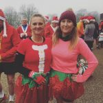 A Christmas atmosphere for Lisa's first parkrun. Pictured with Jen.