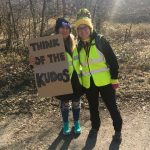 Encouraging sign from  marshals Jen Entwistle and Sarah Rushton.