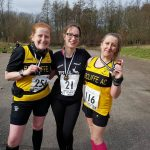 Jen and Sharon and friend Lianne show off their medals at the Irwell Valley 20.
