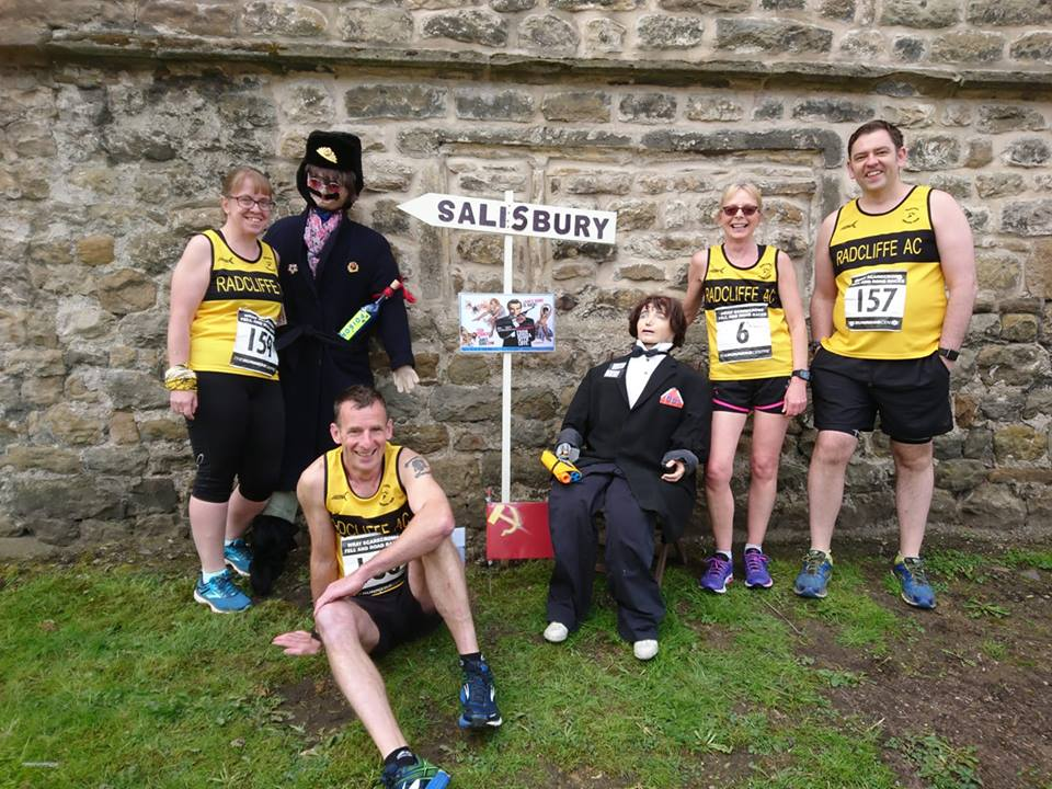 "Taking a look at the village ""characters"" at the Wray Scarecrow 10k."