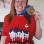 Sharon with her Manchester Marathon medal.