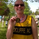 Karen at trhe May Day 10k.