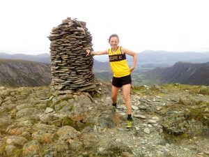 Fiona nearing the end and looking good on Dale Head.