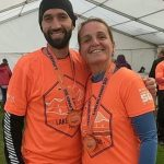 A well deserved medal for Ian and Sarah, fighting poor conditions throughout the Lakeland 50.