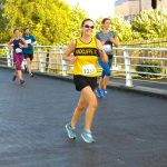 Caroline, and Katie in the background, enjoying their run at Media City.