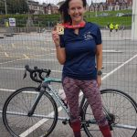 Caroline at the Fleetwood Triathlon.