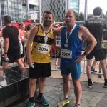 Stephen and his dad Edward in the Salford 10k.