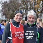 Iain Harris and Amanda Darbyshire celebrate the parkrun milestones.