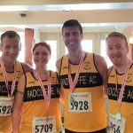 Success at the half marathon for Dave, Caroline, Lee and Peter.