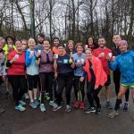 Debi Warrington (centre) celebrated her birthday with a parkrun and prosecco.