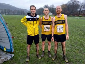 Neal Emmerson, Chris Whittaker and John Wrigley at a muddy Todmorden.