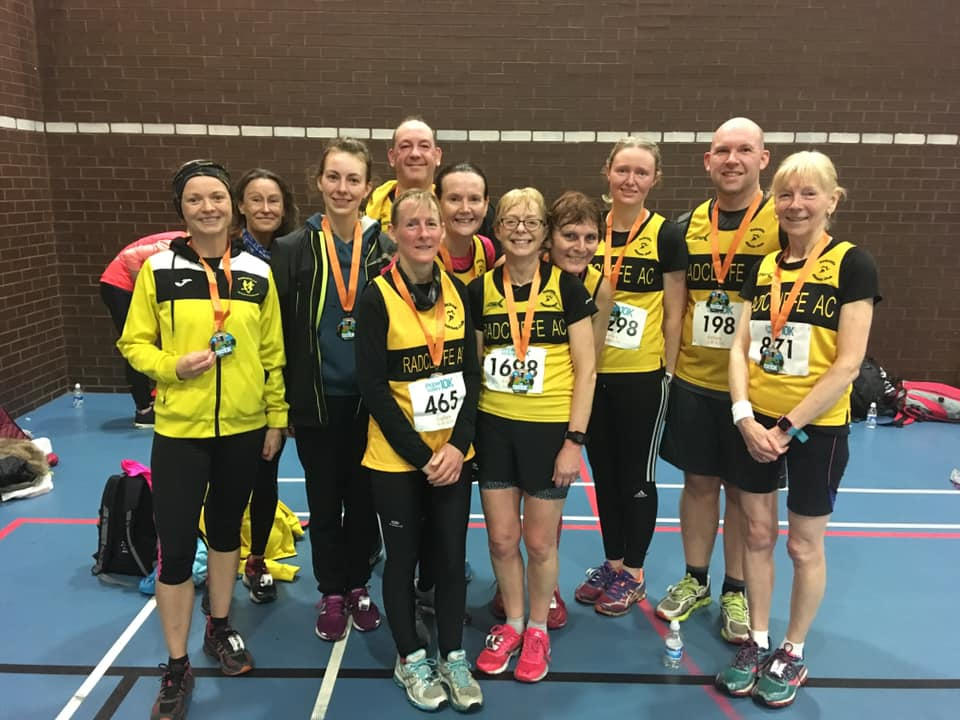 Members at Ribble Valley 10k including the successful ladies teams Fiona Lynch (left), Katie Percival (third from left) Paula Abernethy (fifth from left) and Jenny Yates (fourth from right).