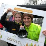 Junior Olivia Whittaker and Jenny Yates celebrate their pbs at Heaton parkrun.