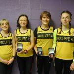Radcliffe AC's winning ladies teams from the North of England 10k Championships (from left) Paula Abernethy, Fiona Lynch, Jenny Yates and Katie Percival.
