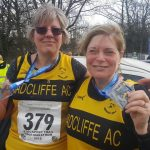 Bev Quinton (left) and Tracy Wroe at the Stockport Trail Half Marathon.