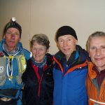 Living the high life: Peter McNulty (left) with teammates Wendy Dodds, Phil Elliot and Dave Egan.