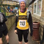 Lisa Carter endured hail at the Haworth Hobble.